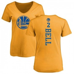 Women's Jordan Bell Golden State Warriors Gold One Color Backer Slim-Fit V-Neck T-Shirt