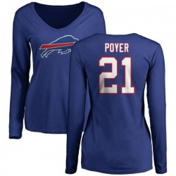 Women's Jordan Poyer Buffalo Bills Name & Number Long Sleeve T-Shirt - Royal