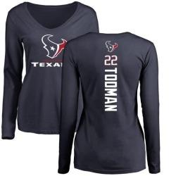 Women's Jordan Todman Houston Texans Backer Slim Fit Long Sleeve T-Shirt - Navy