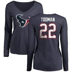 Women's Jordan Todman Houston Texans Name & Number Logo Slim Fit Long Sleeve T-Shirt - Navy