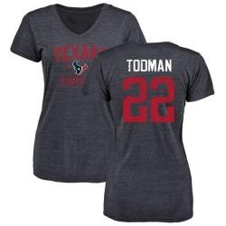 Women's Jordan Todman Houston Texans Navy Distressed Name & Number Tri-Blend V-Neck T-Shirt