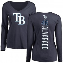 Women's Jose Alvarado Tampa Bay Rays Backer Slim Fit Long Sleeve T-Shirt - Navy