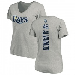 Women's Jose Alvarado Tampa Bay Rays Backer Slim Fit T-Shirt - Ash
