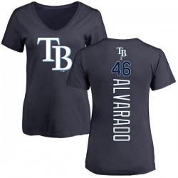 Women's Jose Alvarado Tampa Bay Rays Backer Slim Fit T-Shirt - Navy
