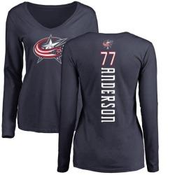Women's Josh Anderson Columbus Blue Jackets Backer Long Sleeve T-Shirt - Navy