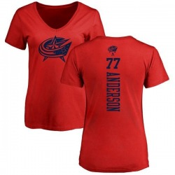 Women's Josh Anderson Columbus Blue Jackets One Color Backer T-Shirt - Red