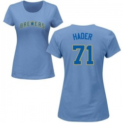 Women's Josh Hader Milwaukee Brewers Roster Name & Number T-Shirt - Light Blue