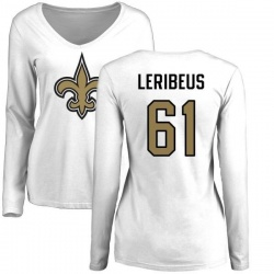Women's Josh LeRibeus New Orleans Saints Name & Number Logo Slim Fit Long Sleeve T-Shirt - White