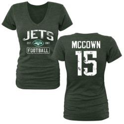 Women's Josh McCown New York Jets Green Distressed Name & Number Tri-Blend V-Neck T-Shirt