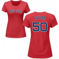 Women's Josh Taylor Boston Red Sox Roster Name & Number T-Shirt - Red