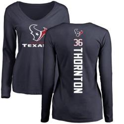 Women's Josh Thornton Houston Texans Backer Slim Fit Long Sleeve T-Shirt - Navy