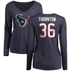 Women's Josh Thornton Houston Texans Name & Number Logo Slim Fit Long Sleeve T-Shirt - Navy