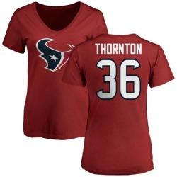 Women's Josh Thornton Houston Texans Name & Number Logo Slim Fit T-Shirt - Red