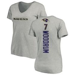 Women's Josh Woodrum Baltimore Ravens Backer V-Neck T-Shirt - Ash