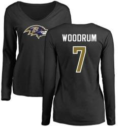 Women's Josh Woodrum Baltimore Ravens Name & Number Logo Slim Fit Long Sleeve T-Shirt - Black