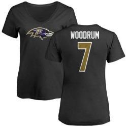 Women's Josh Woodrum Baltimore Ravens Name & Number Logo Slim Fit T-Shirt - Black