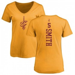 Women's J.R. Smith Cleveland Cavaliers Gold One Color Backer Slim-Fit V-Neck T-Shirt
