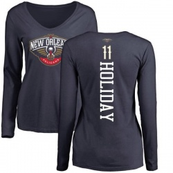 Women's Jrue Holiday New Orleans Pelicans Navy Backer Long Sleeve T-Shirt