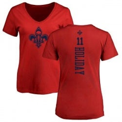 Women's Jrue Holiday New Orleans Pelicans Red One Color Backer Slim-Fit V-Neck T-Shirt