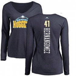 Women's Juan Hernangomez Denver Nuggets Navy Backer Long Sleeve T-Shirt