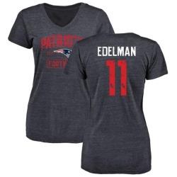 Women's Julian Edelman New England Patriots Navy Distressed Name & Number Tri-Blend V-Neck T-Shirt