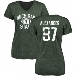 Women's Justice Alexander Michigan State Spartans Distressed Football Tri-Blend V-Neck T-Shirt - Green