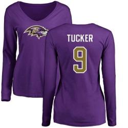 Women's Justin Tucker Baltimore Ravens Name & Number Logo Slim Fit Long Sleeve T-Shirt - Purple