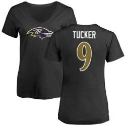Women's Justin Tucker Baltimore Ravens Name & Number Logo Slim Fit T-Shirt - Black