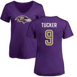 Women's Justin Tucker Baltimore Ravens Name & Number Logo Slim Fit T-Shirt - Purple