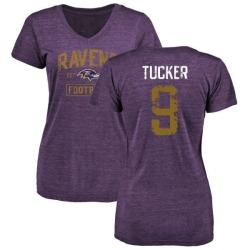 Women's Justin Tucker Baltimore Ravens Purple Distressed Name & Number Tri-Blend V-Neck T-Shirt