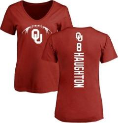 Women's Kahlil Haughton Oklahoma Sooners Football Backer V-Neck T-Shirt - Cardinal