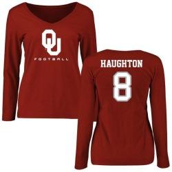 Women's Kahlil Haughton Oklahoma Sooners Football Slim Fit Long Sleeve T-Shirt - Crimson