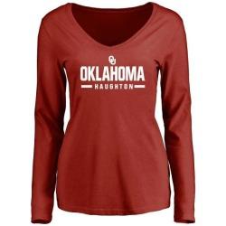 Women's Kahlil Haughton Oklahoma Sooners Sport Long Sleeve T-Shirt - Cardinal