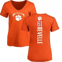 Women's Kaleb Bevelle Clemson Tigers Football Backer V-Neck T-Shirt - Orange