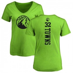 Women's Karl-Anthony Towns Minnesota Timberwolves Neon Green One Color Backer Slim-Fit V-Neck T-Shirt