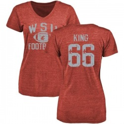 Women's Keenen King Washington State Cougars Distressed Football Tri-Blend V-Neck T-Shirt - Crimson