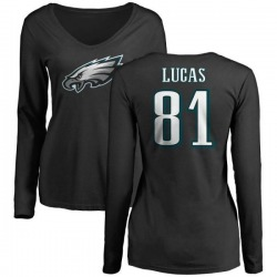 Women's Keevan Lucas Philadelphia Eagles Name & Number Logo Slim Fit Long Sleeve T-Shirt - Black