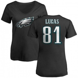 Women's Keevan Lucas Philadelphia Eagles Name & Number Logo Slim Fit T-Shirt - Black