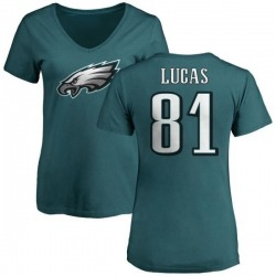 Women's Keevan Lucas Philadelphia Eagles Name & Number Logo Slim Fit T-Shirt - Green