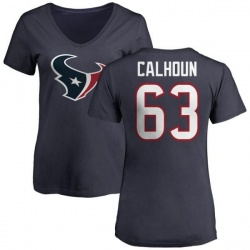 Women's Kendall Calhoun Houston Texans Name & Number Logo Slim Fit T-Shirt - Navy