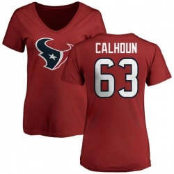 Women's Kendall Calhoun Houston Texans Name & Number Logo Slim Fit T-Shirt - Red