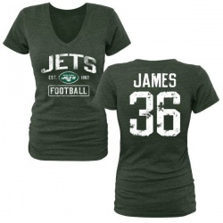 Women's Kendall James New York Jets Green Distressed Name & Number Tri-Blend V-Neck T-Shirt