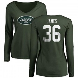 Women's Kendall James New York Jets Name & Number Logo Slim Fit Long Sleeve T-Shirt - Green