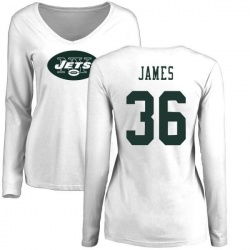 Women's Kendall James New York Jets Name & Number Logo Slim Fit Long Sleeve T-Shirt - White