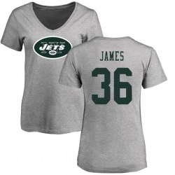 Women's Kendall James New York Jets Name & Number Logo Slim Fit T-Shirt - Ash