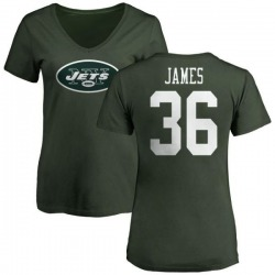 Women's Kendall James New York Jets Name & Number Logo Slim Fit T-Shirt - Green