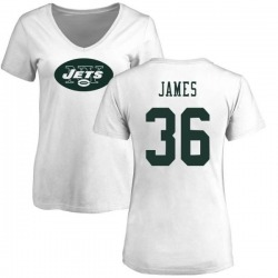 Women's Kendall James New York Jets Name & Number Logo Slim Fit T-Shirt - White