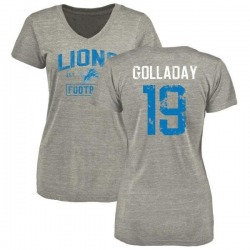 Women's Kenny Golladay Detroit Lions Heather Gray Distressed Name & Number Tri-Blend V-Neck T-Shirt