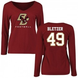 Women's Kevin Bletzer Boston College Eagles Football Long Sleeve T-Shirt - Maroon