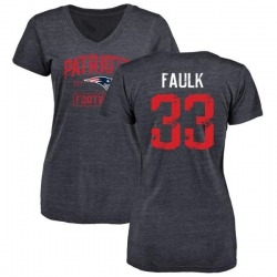 Women's Kevin Faulk New England Patriots Navy Distressed Name & Number Tri-Blend V-Neck T-Shirt
